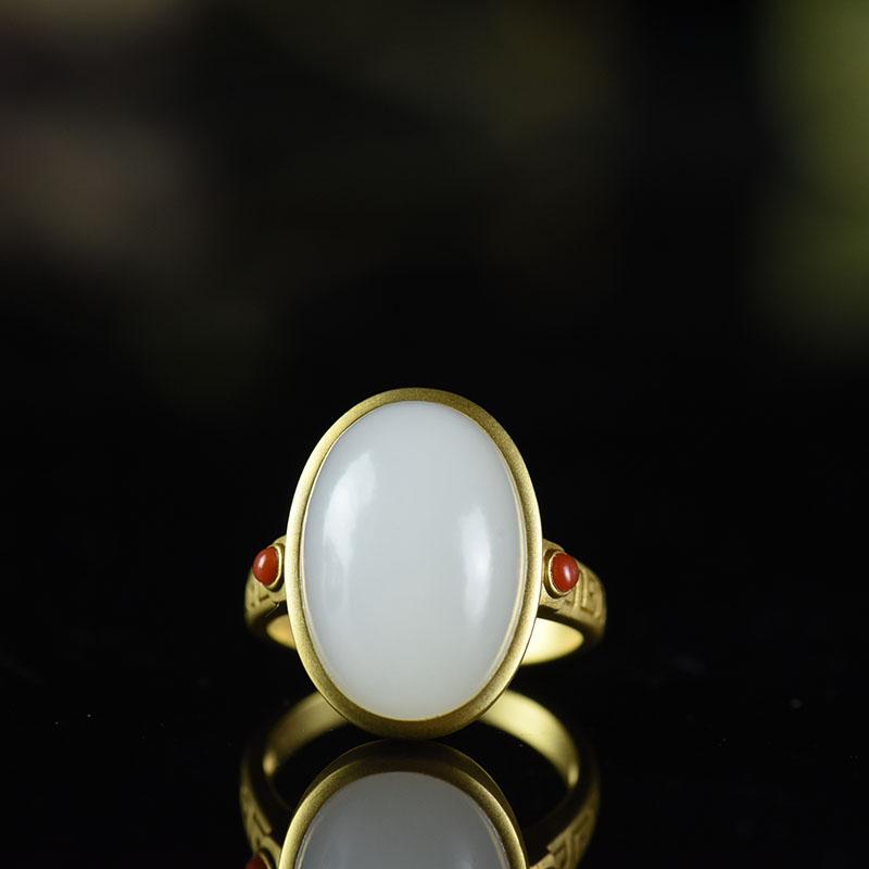 和田白玉戒指