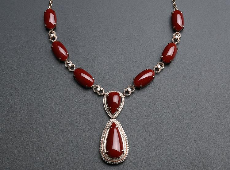 顶级阿卡红珊瑚项链-玉雕名家