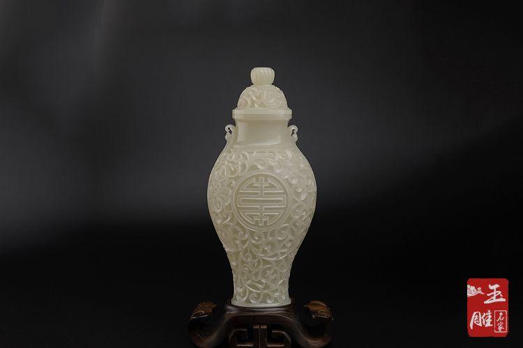 白玉花瓶-玉雕名家